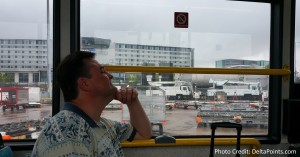 on the bus tarmac side man airport rene delta points blog