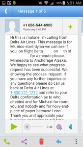 phone call from Delta about my RU clearing