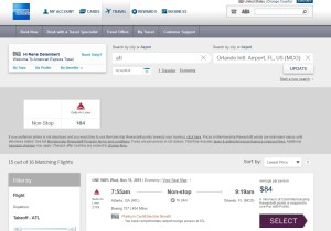 amex travel site delta fares no basic