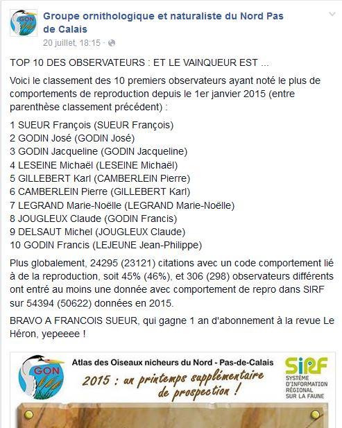Contribution à l'Atlas des Oiseaux nicheurs du Nord - Pas-de-Calais du GON