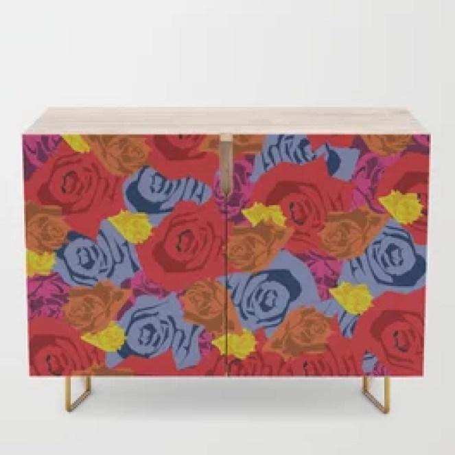 Rose Love Credenza designed by Visual Artist Keara Douglas of Delux Designs (DE), LLC
