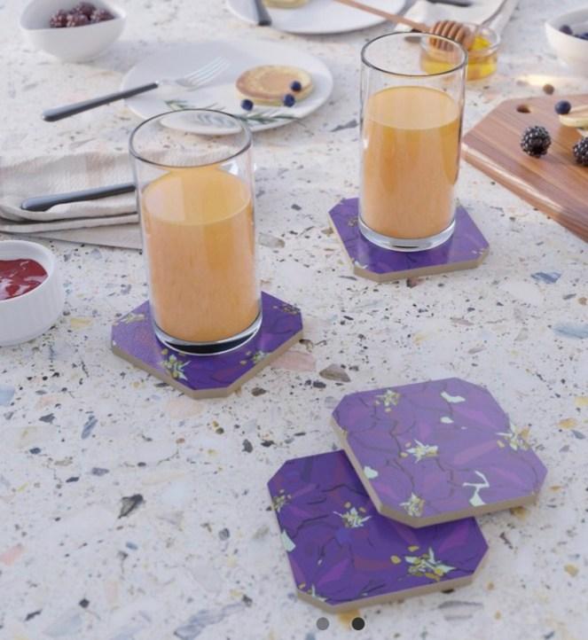 Larkspur Love Coasters designed by Visual Artist Keara Douglas of Delux Designs (DE), LLC