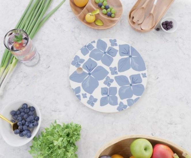Hydrangea Love Cutting Board designed by Visual Artist Keara Douglas of Delux Designs (DE), LLC