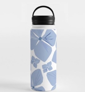 Hydrangea Love Water Bottle designed by Visual Artist Keara Douglas of Delux Designs (DE), LLC in collaboration with Society6
