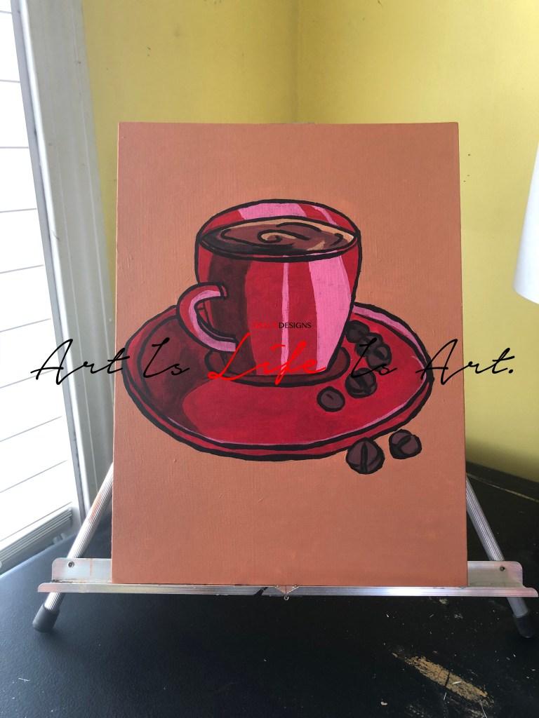 Coffee Love Acrylic Painting by Visual Artist Keara Douglas of Delux Designs (DE), LLC
