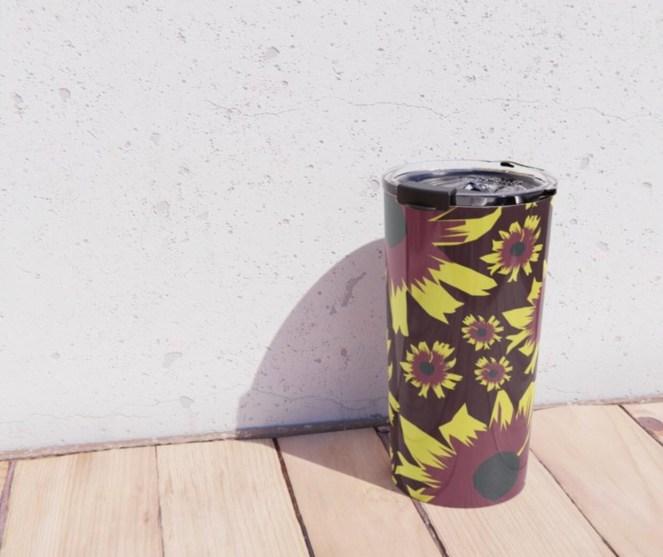Black-Eyed Susan Love Metal Travel Mug designed by Visual Artist Keara Douglas of Delux Designs (DE), LLC