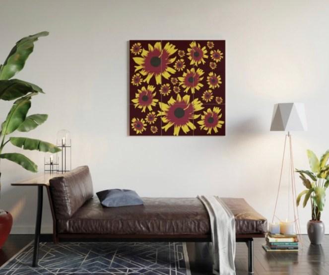 Black-Eyed Susan Love Wood Wall Art designed by Visual Artist Keara Douglas of Delux Designs (DE), LLC