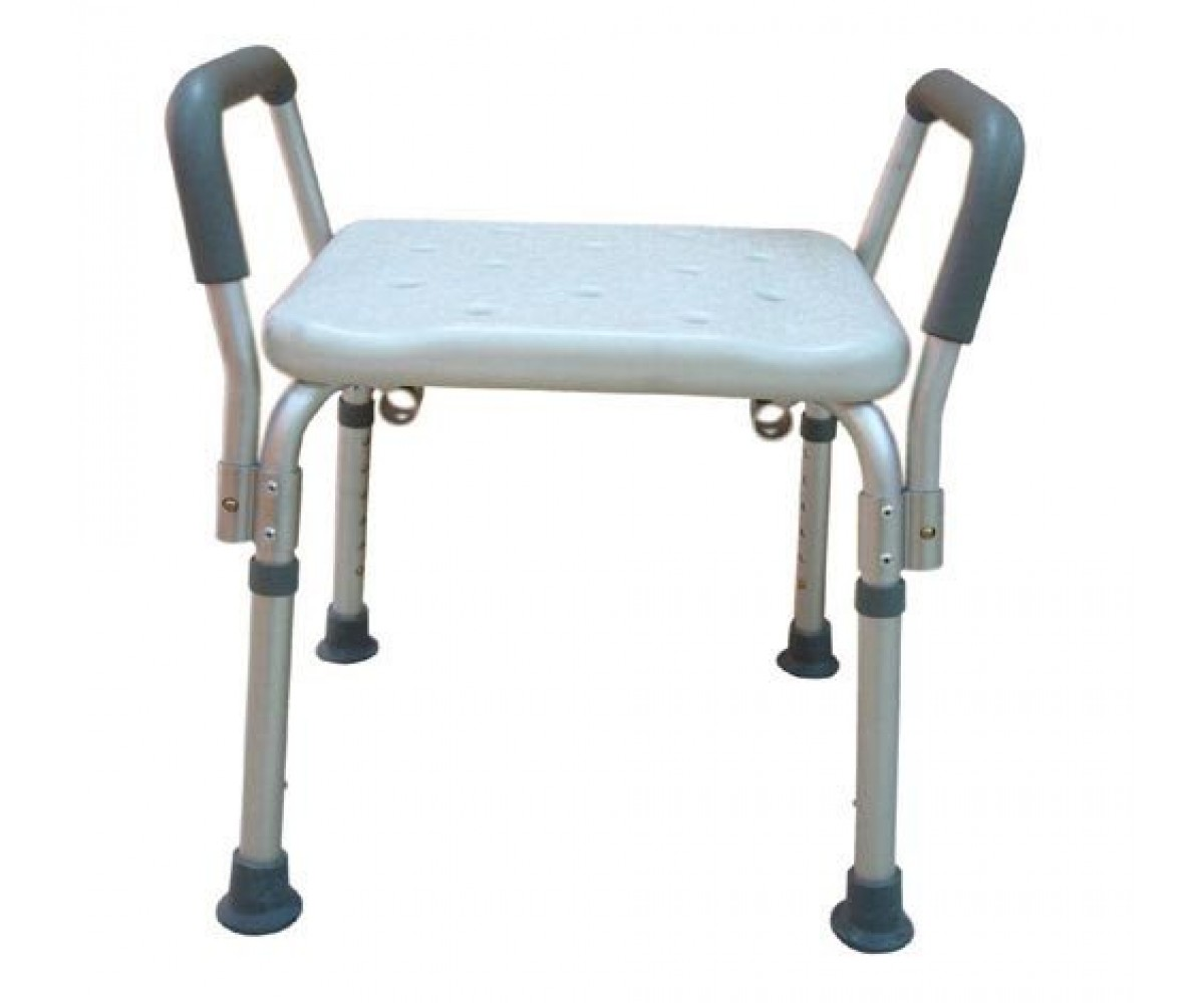 Shower Chair With Back Bath Bench Adj Ht W O Back Remov Padded Arms