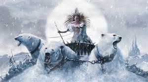 Tilda riding a three polar bear chariot. QED times a billion.