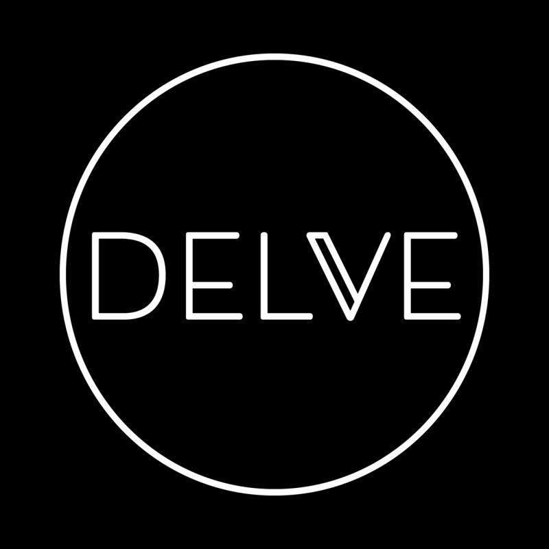 Logo for Delve Books. The image shows the word 'delve' in modern capital letters within a circle. The logo is white on a background to indicate Delve's support for diversity and equality.