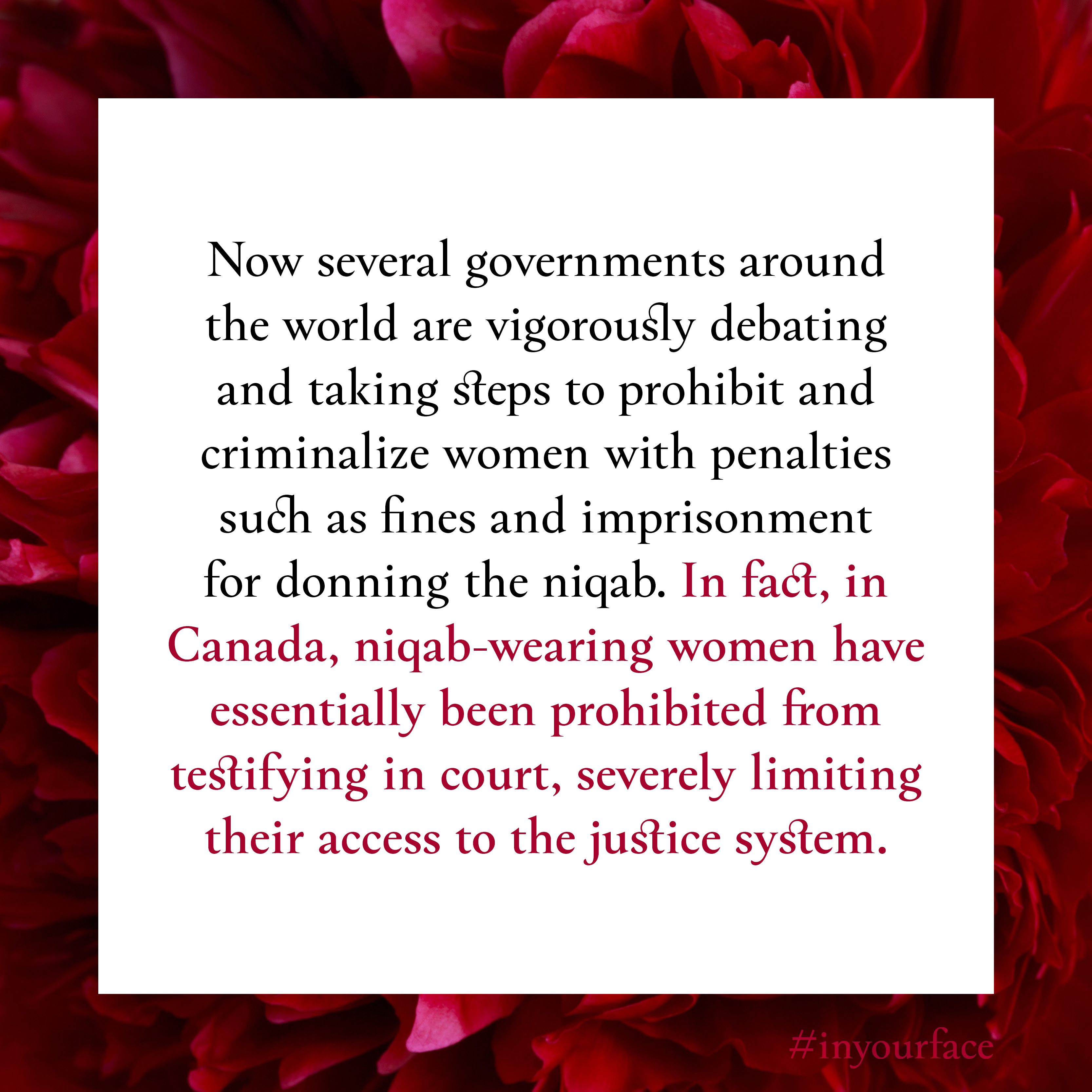 """Excerpt from In Your Face by Natasha Bakht. It reads: """"Now several governments around the world are vigorously debating and taking steps to prohibit and criminalize women with penalties such as fines and imprisonment for donning the niqab. In fact, in Canada, niqab-wearing women have essentially been prohibited from testifying in court, severely limiting their access to the justice system."""""""