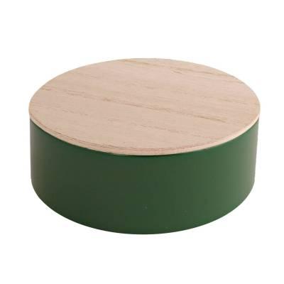 rond blikje hout donker groen
