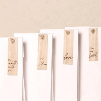 Houten label gravure