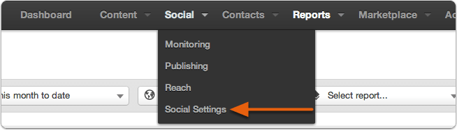 Hubspot Social-Settings