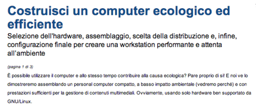 Costruisci un computer ecologico ed efficiente - Linux magazine