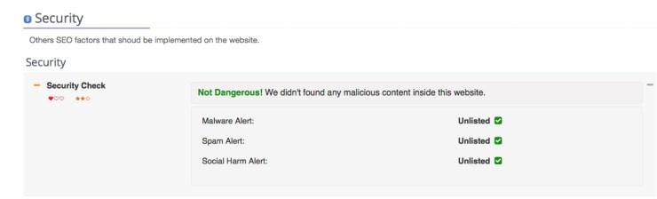 Rapporto sicurezza per salute sito web