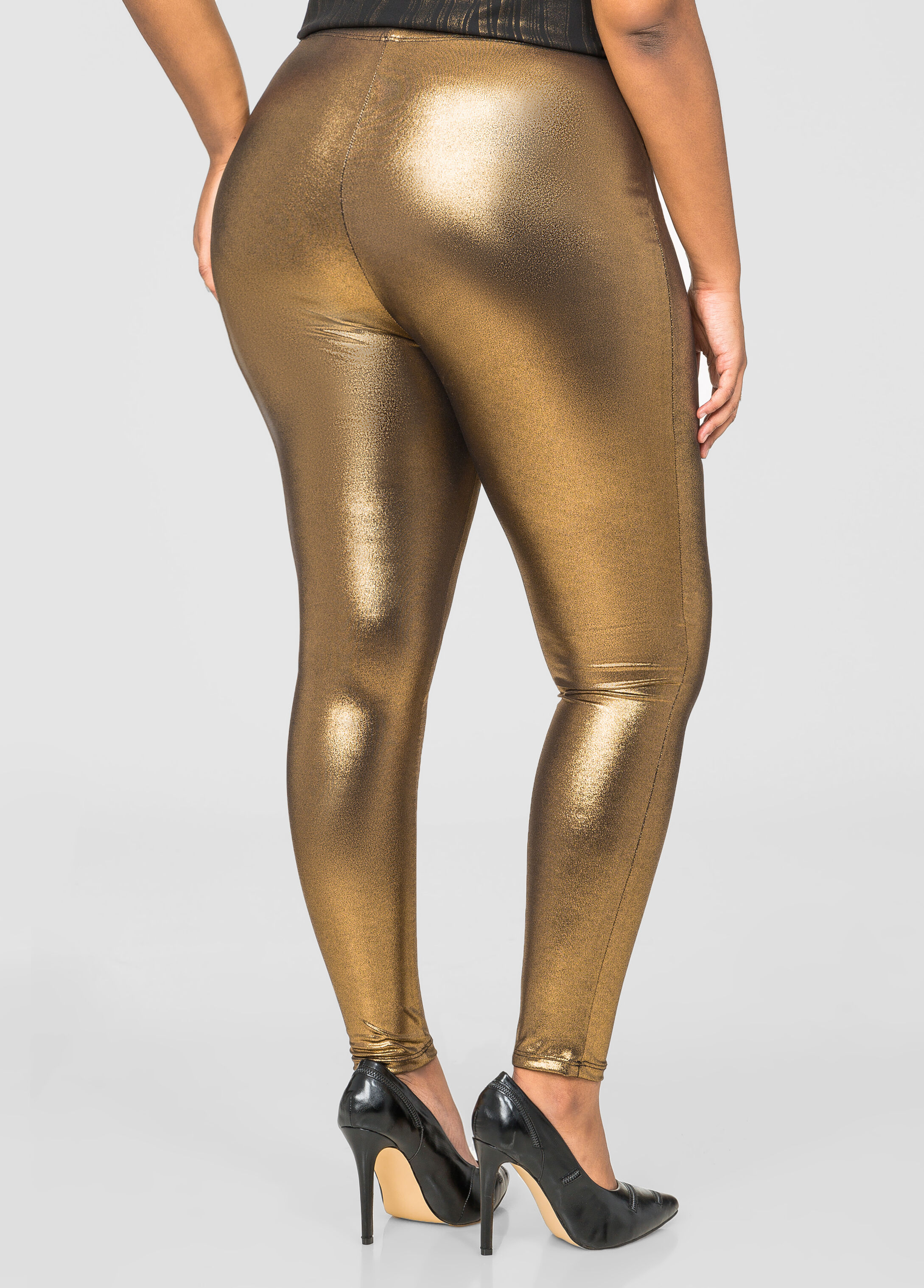 Metallic Liquid Legging- Size Leggings-ashley Stewart