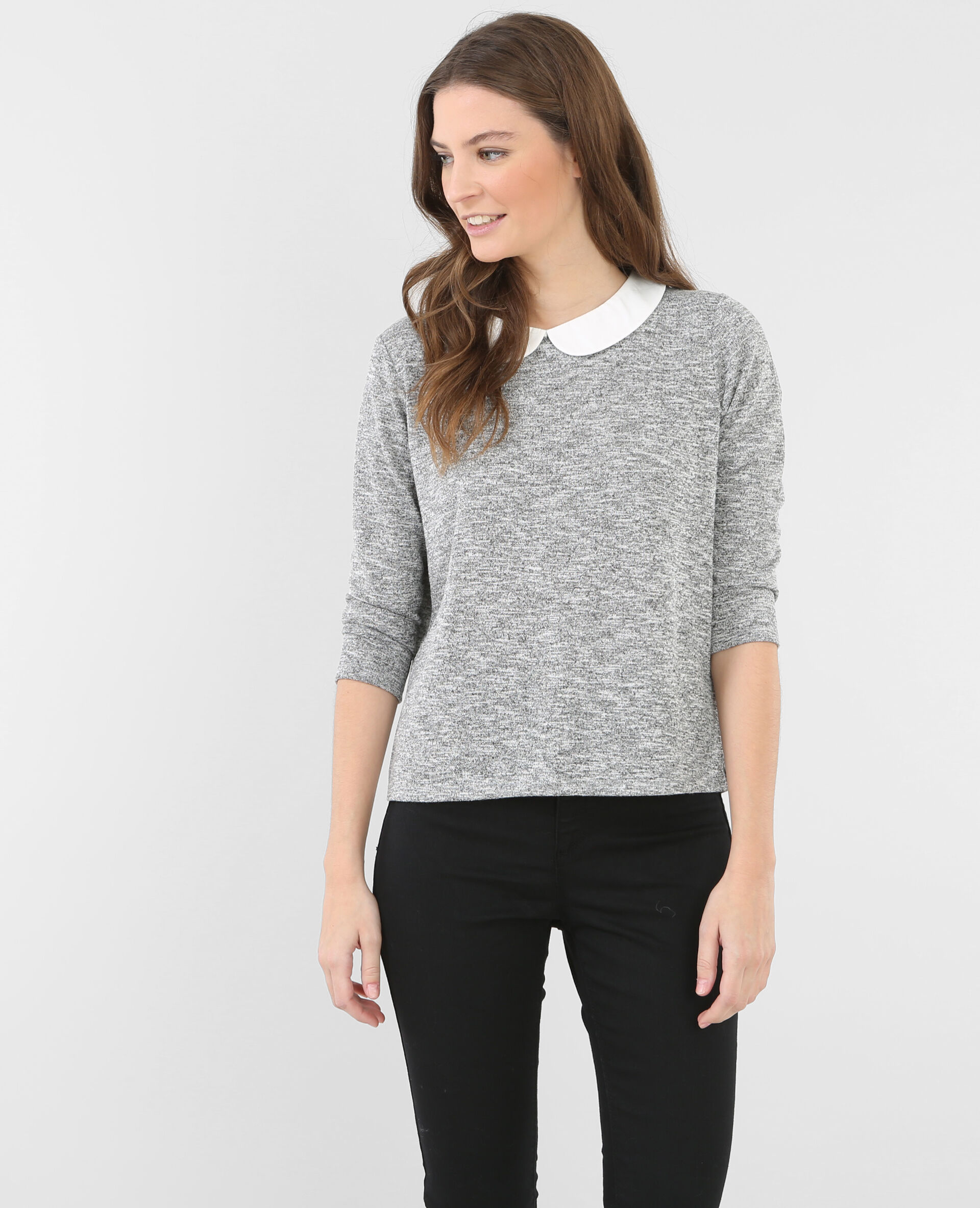 T-shirt col claudine gris