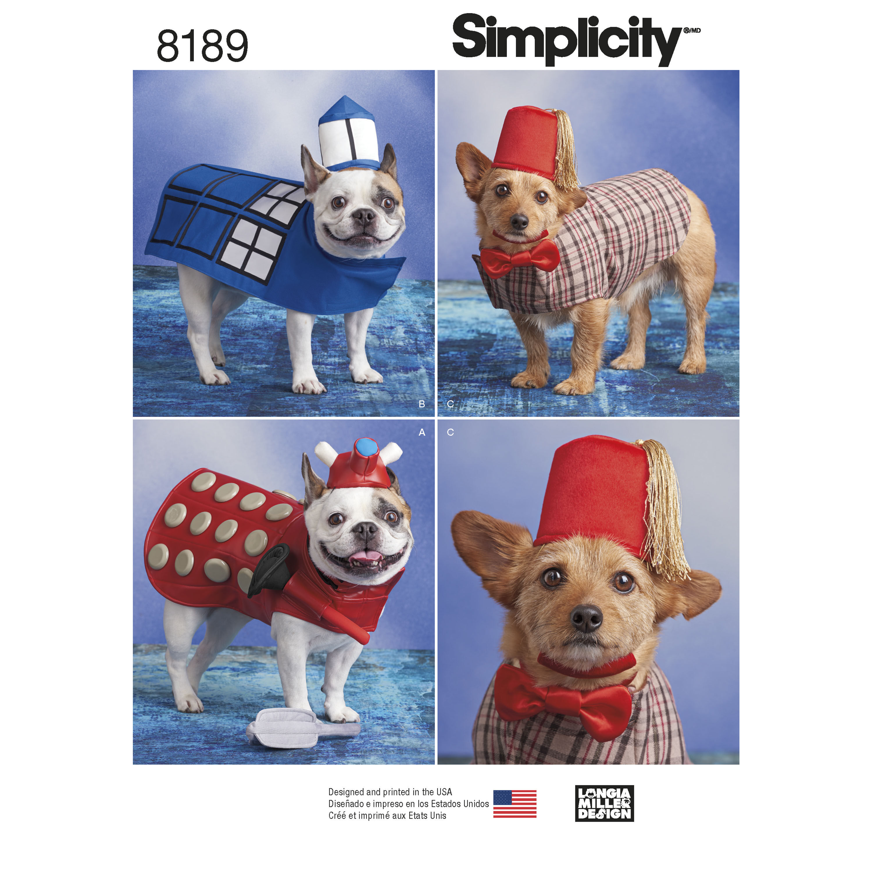 Pattern 8189 Dog Costumes in Three Sizes