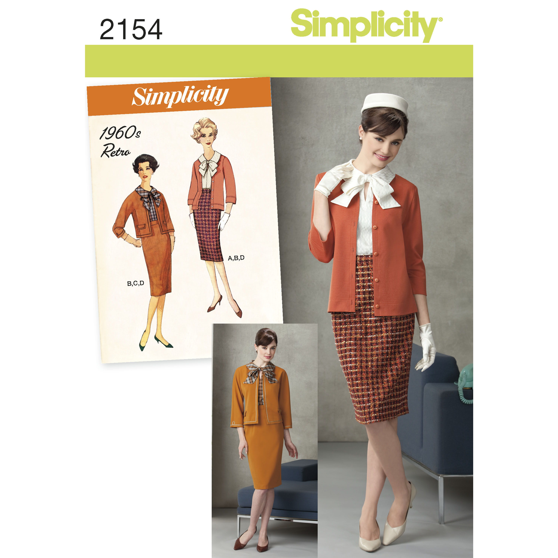 Simplicity Pattern 2154 Misses' & Miss Petite 1960s Vintage Suit
