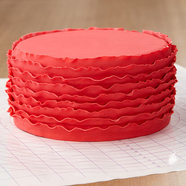 Red Ruffled Ribbons Fondant Cake Wilton