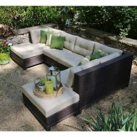 Hillborough 4 Piece Outdoor Patio Sectional Set w ...