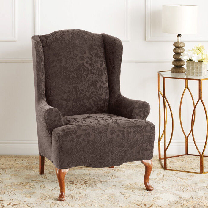Stretch Jacquard Damask Wing Chair Cover  eBay