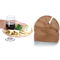 Set of 4 Wood Carved Cocktail Trays and Wine Holder Plates ...