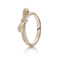 Sparkling Bow Ring, PANDORA Rose & Clear CZ