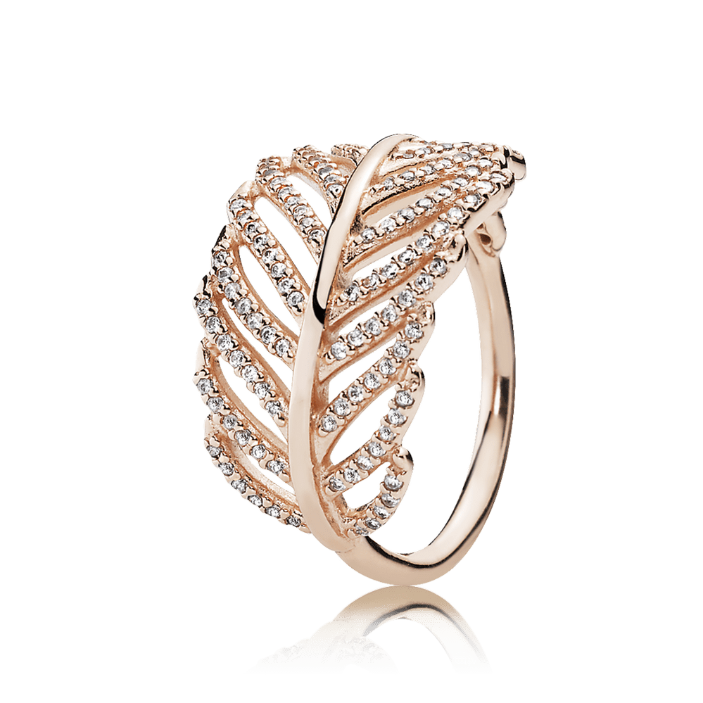 Light As A Feather Ring, PANDORA Rose & Clear CZ