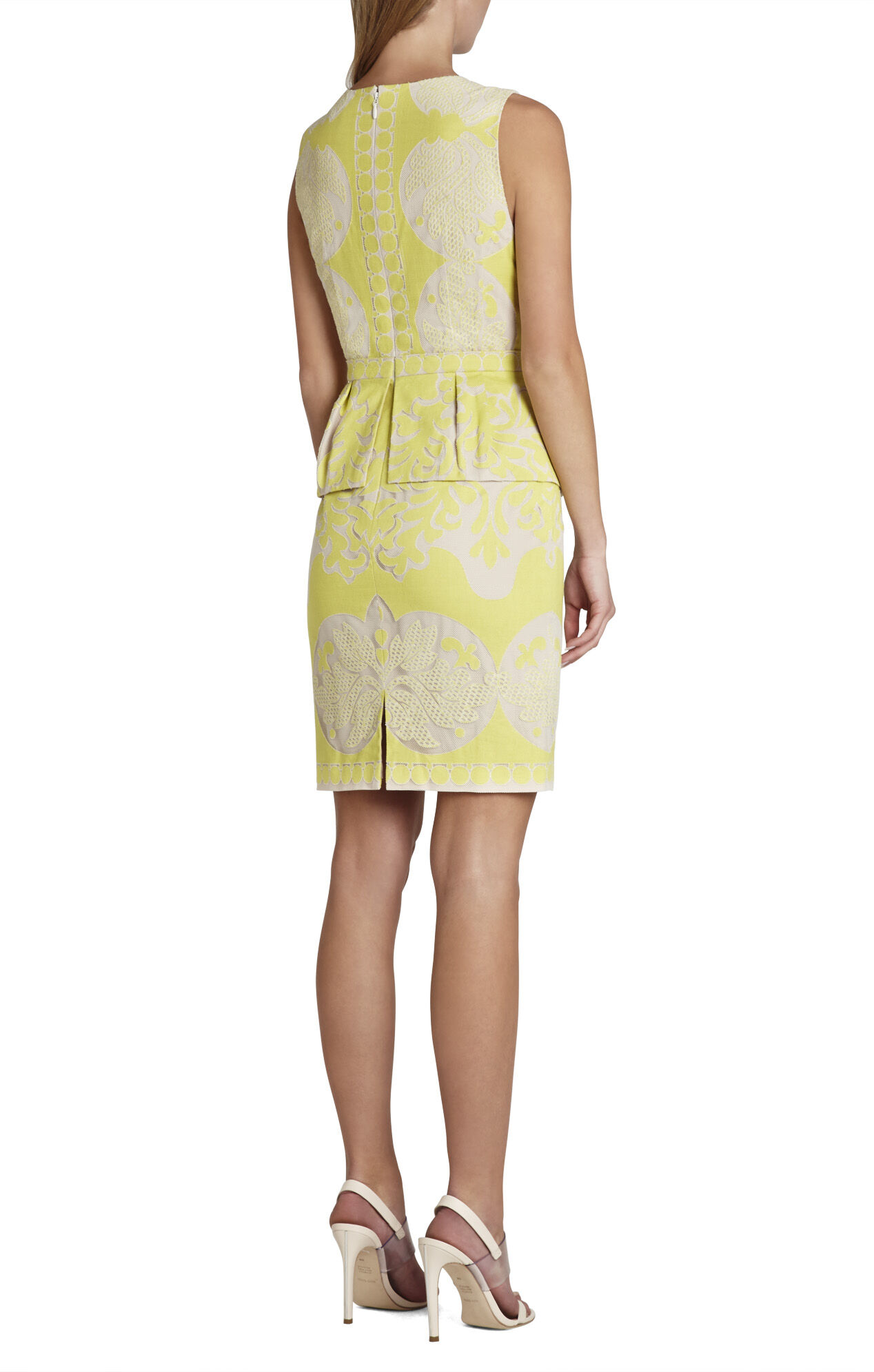 Yellow Lace Peplum Dresses