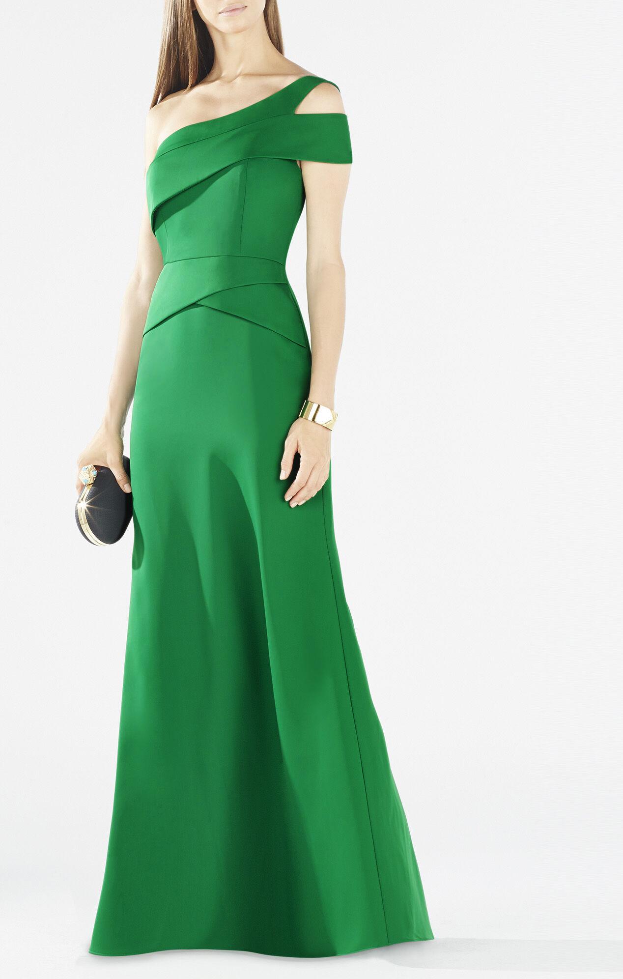 BCBG One Shoulder Peplum Dress