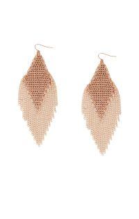 Mesh Diamond Fringe Earrings