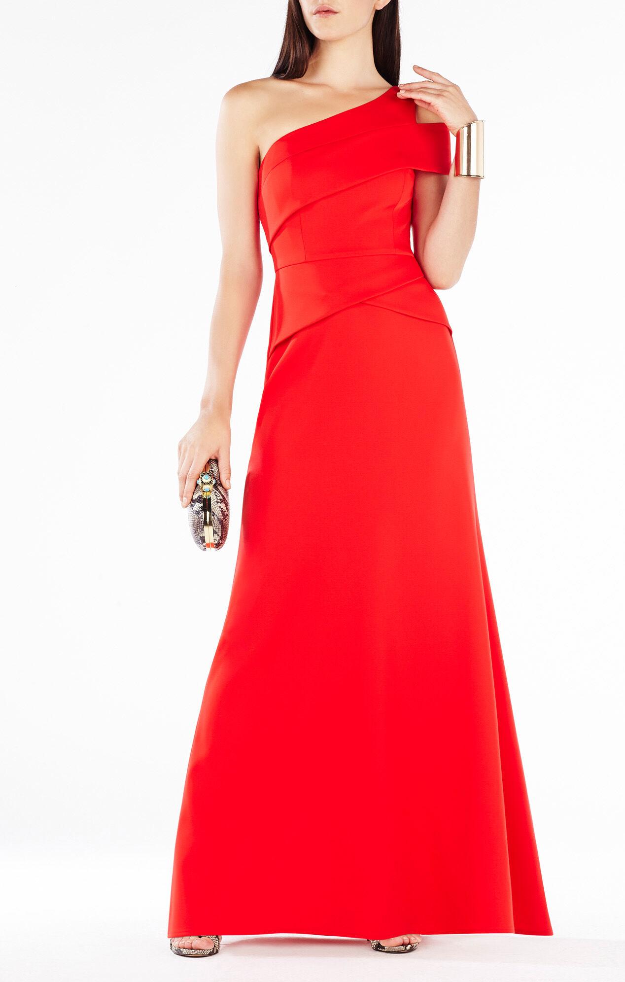 BCBG Long One Shoulder Red Dress