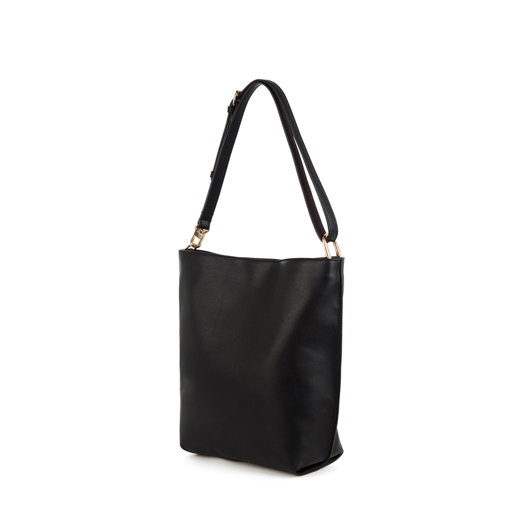 Warehouse, Bonded Hobo Shopper Bag Black 1