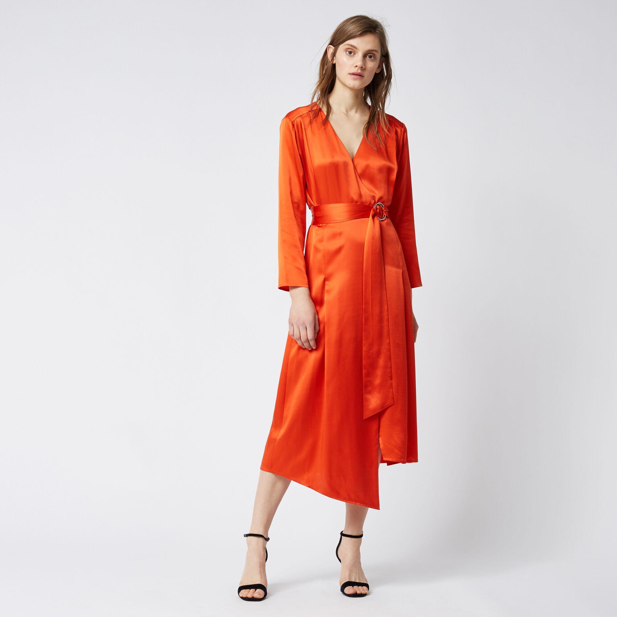 Silk Satin Long Sleeve Wrap Dress