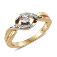 Diamond (Rnd) Bypass Promise Ring in 14K Gold Overlay ...