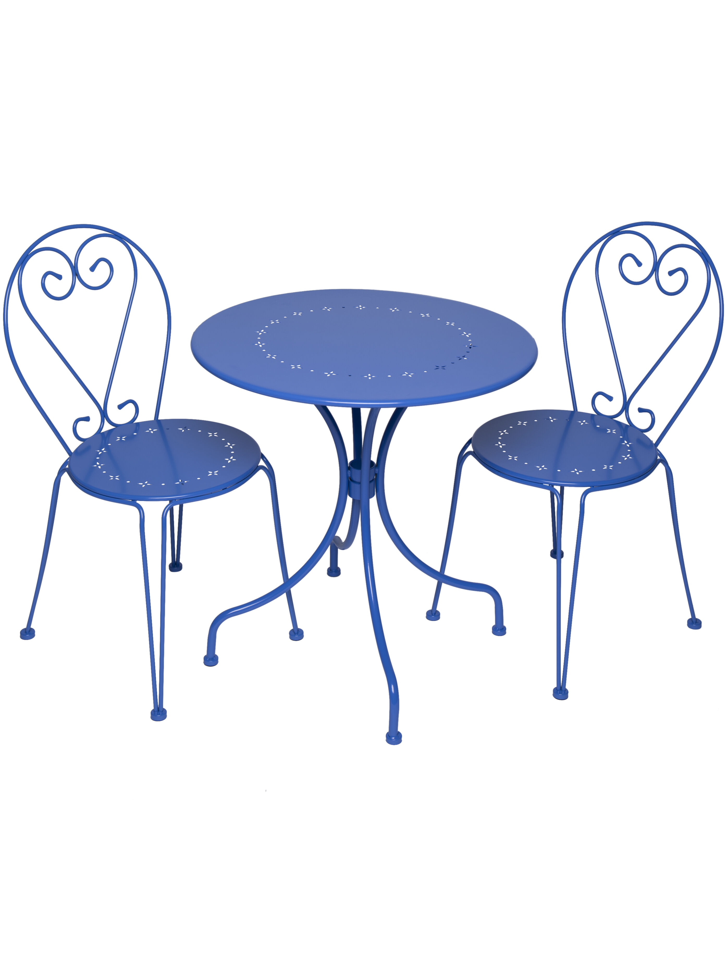 blue bistro chairs hydraulic styling chair patio table set 7 piece oval folding gardeners