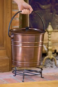 Fireplace Ash Bucket with Lid and Stand | Gardeners.com