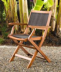 Folding Patio Chairs: Wood Armchairs, Mesh Seat & Back ...