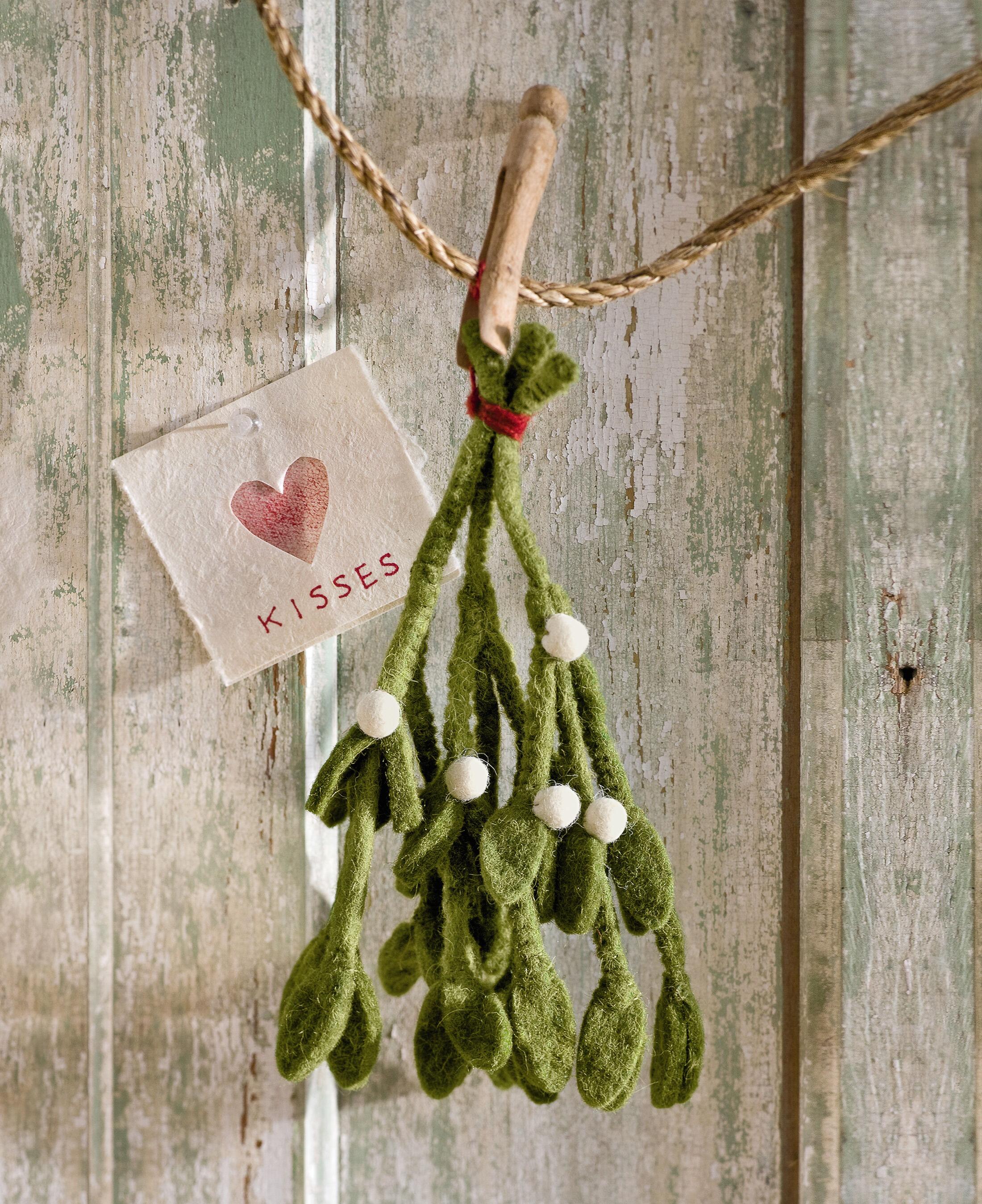 Felt Mistletoe Felted Wool Holiday Decor