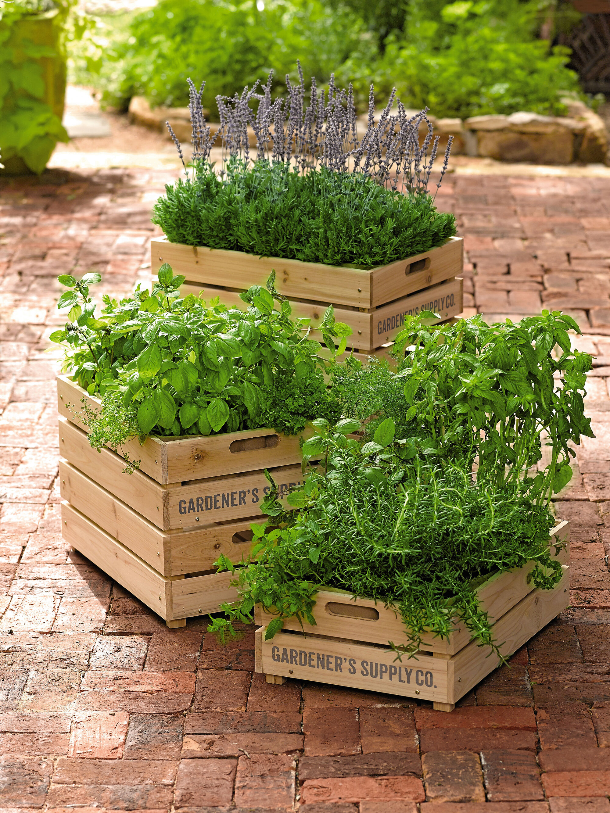 Herb Box Wooden Crate Planter With Liner Gardener' Supply