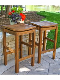 Outdoor Bar Stools - Eucalyptus Wood Bar Height Stools ...