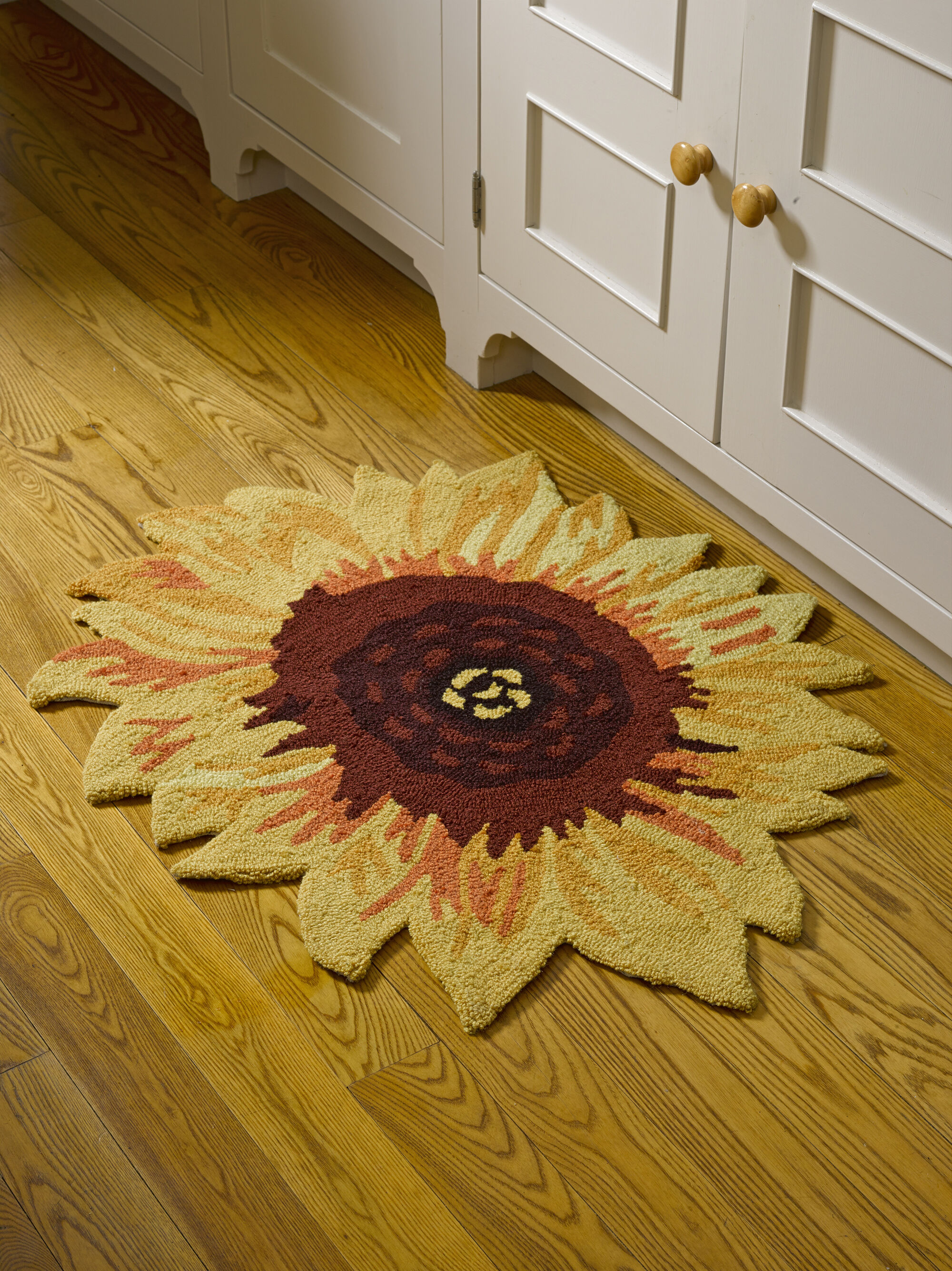 washable rugs for kitchen bench seat sunflower accent rug, non-slip backing, 32