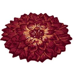 Kitchen Rugs Washable Narrow Depth Cabinets Flower Rug | Dahlia Hooked Red