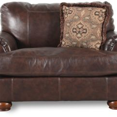 Ashley Axiom Leather Sofa Sams Recliner Millennium Walnut Chair And A Half Mathis