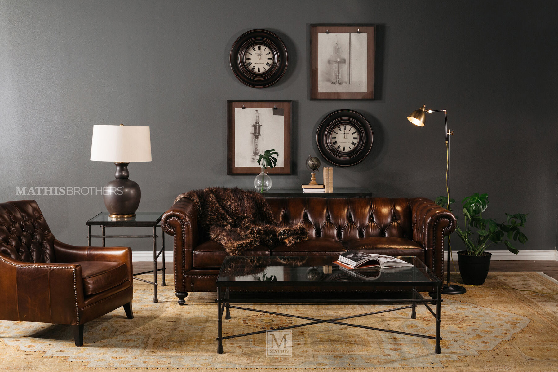 bernhardt brown leather club chair ashley table and chairs london dark sofa mathis