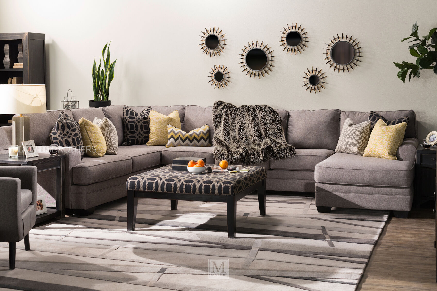 transitional accent chairs fluffy desk chair ashley cresson pewter four-piece sectional | mathis brothers furniture