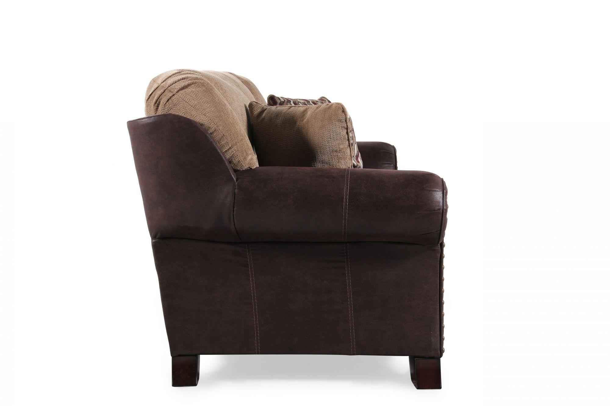 ashley furniture morandi mocha sofa leather recliner set vandive mathis brothers