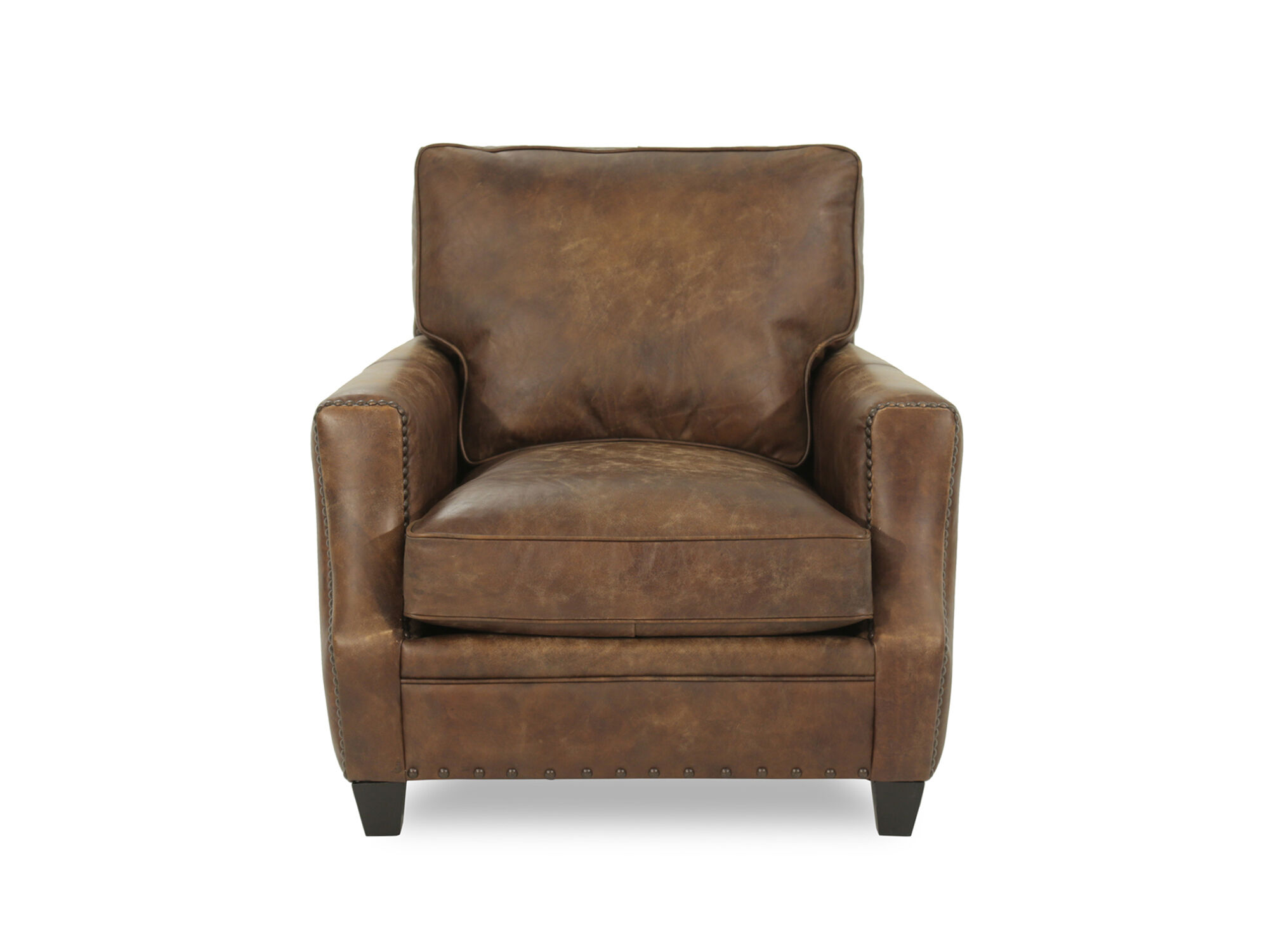 Bernhardt Barclay Leather Mocha Chair  Mathis Brothers